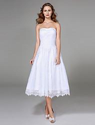 Lanting Bride® Trapèze Robe de Mariage  - Classique & Intemporel Petites Robes Blanches Longueur Genou Sans Bretelles Dentelle avec