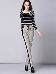 Women's Loose Chinos Pants,Casual/Daily Simple Solid High Rise Drawstring Acrylic Micro-elastic Winter
