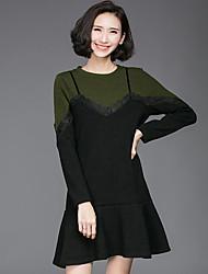 Mujer Corte Ancho Vestido Noche Bonito,Un Color Escote Redondo Sobre la rodilla Manga Larga Marrón Verde Algodón Primavera Otoño Tiro Alto