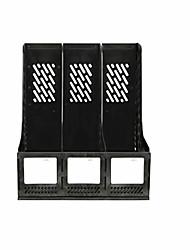 três material de escritório colunas de plástico rack de documento - preto
