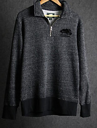 Men's Going out Simple Jackets,Geometric Standing Collar Long Sleeve Winter Gray Cotton Thick
