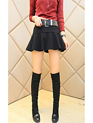 Women's A Line Solid Skirts,Going out / Casual/Daily Cute Low Rise Above Knee Elasticity Polyester Micro-elastic Winter