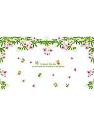 Wall Stickers Wall Decals Style Green Leaf Flower Rattan PVC Wall Stickers