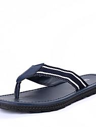 Men's Slippers & Flip-Flops Spring Summer Fall Others Linen Rubber Casual Flat Heel Black White Navy Blue