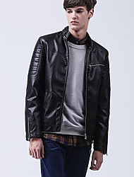 Men's Casual/Daily Sexy Simple Jackets,Solid Long Sleeve Spring Winter Black Polyester