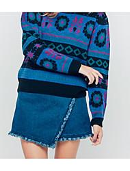 Damen Röcke,Bodycon einfarbigLässig/Alltäglich Hohe Hüfthöhe Mini Knopf Baumwolle Micro-elastisch Herbst