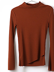 Women's Casual/Daily Simple Spring T-shirt,Solid Crew Neck Long Sleeve Red Beige Cotton Thin