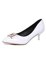 Women's Heels Spring PU Casual Low Heel Rhinestone White Black Light Grey Blushing Pink