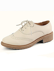 Women's Oxfords Spring / Summer Ankle Strap Leather Wedding / Outdoor / Dress Low Heel Lace-up Pink / Red / Beige Walking
