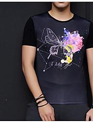 Herren Solide Geometrisch Einfach Lässig/Alltäglich Ausgehen T-shirt,Rundhalsausschnitt Frühling Herbst Kurzarm Schwarz Seide