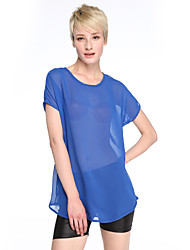 Women's Solid Blue / Black Blouse,Round Neck Short Sleeve