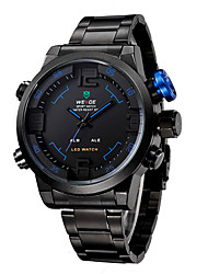Men WEIDE Sports Brand Men's Military Watches Stainless Steel LED Multifunctional Alarm Date Quartz Watch