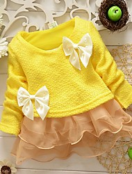 Girl's Cotton Casual Spring/Fall Going out Casual/Daily Lace Patchwork Skirt Sweet Bowknot Long Sleeve Princess Dress