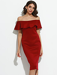 Women's Casual/Daily / Club Sexy / Simple Bodycon Falbala Layered DressSolid Boat Neck Midi Short Sleeve