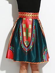 De las mujeres Faldas-Midi Vintage Microelástico-Poliéster