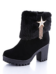 Women's Boots Fall Winter Other Fleece Office & Career Casual Chunky Heel Others Chain Black Light Brown