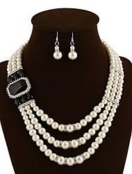 Bijoux 1 Collier 1 Paire de Boucles d'Oreille Soirée Perle 1set Femme Noir Blanc Rouge Bleu Vert Bleu Ciel Cadeaux de mariage