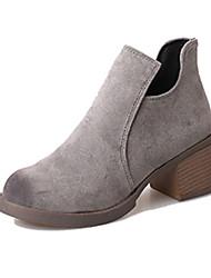 Women's Boots Fall Winter Comfort PU Casual Low Heel Zipper Black Gray Light Brown