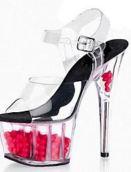 Damen-Sandalen-Hochzeit Kleid Party & Festivität-PVC-Stöckelabsatz Plateau Kristallabsatz-Komfort Neuheit-Schwarz Grün Rot