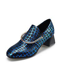 Damen-High Heels-Lässig-PU-BlockabsatzSchwarz Blau