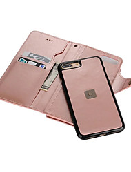 For iPhone 7 Case iPhone 7 Plus Case iPhone 6 Case Wallet Card Holder Mirror Case Full Body Case Solid Color Hard PU Leather for Apple
