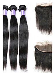 4pcs/lot Unprocessed Malaysian Virgin Hair With Frontal Closure 13*4 Ear To Ear Lace Frontal Closure With Baby Hair