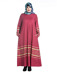 Women's Plus Size Simple Tunic Dress,Print Round Neck Maxi Long Sleeve Red Black Green Polyester Spring Mid Rise Micro-elastic Medium