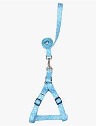 Dog Harness Adjustable/Retractable Cartoon Blue Nylon