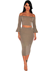 Women's Coffee Ribbed Knit Bell Sleeves Two Piece Set