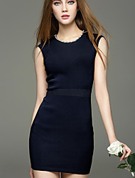 Women's Going out Sexy Bodycon Sheath Dress,Solid Beaded Round Neck Above Knee Sleeveless Nylon Blue Spring Mid Rise Micro-elastic