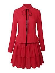 Feminino Camisa Vestido, Para Noite Casual Simples Moda de Rua Sólido Colarinho Chinês Acima do Joelho Manga Longa Vermelho Preto
