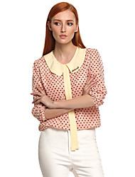 AliExpress ebay new European explosion models Slim dot doll chiffon shirt collar long-sleeved shirt shirt