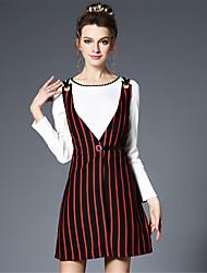 Women's Plus Size Vintage Two Piece Set Patchwork Stripe Sleeveless A Line Dress Knit Blouse