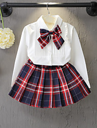 Pure Color Long Sleeve Shirt A Skirt For 2 Sets Of The Girls