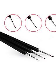 3pcs/set Professional Acrylic UV Gel Nail Art Design Painting Dots Drawings Brush Pen Black Handle Manicure Tools