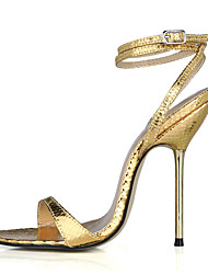 Women's Sandals Summer Ankle Strap PU Party & Evening Dress Stiletto Heel Black Rose Gold Sliver