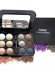 New 12 Colors Eyeshadow Makeup Palette High Quality Powder Smoky Eyes Metal Naked Nude EyeShadow Cosmetics Brush & Mirror