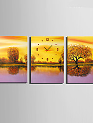E-HOME® The Tree in The Water Clock in Canvas 3pcs
