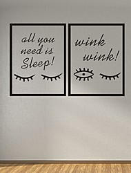 AYA DIY Frame Wall Stickers Wall Decals Eyelash & EyesPVC Wall Stickers 40*30cmX2
