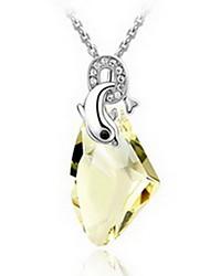 Ожерелья с подвесками Кристалл Сплав Одинарная цепочка Базовый дизайн Желтый Красный Розовый Светло-синий Светло-Зеленый Бижутерия