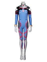 Inspiré par Overwatch D.Va Vidéo Jeu Costumes de Cosplay Costumes Cosplay Cosplay Hauts / Bas Géométrique Rouge Bleu RoseCollant Gants