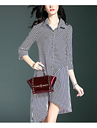 Women's Going out Simple Shirt Dress,Striped Shirt Collar Knee-length ¾ Sleeve Polyester Black Spring Fall Mid Rise Micro-elastic