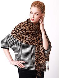 Women Vintage Casual Leopard Dot Printed Wool Warm Tassel Scarf Shawl