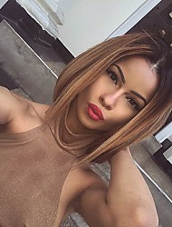 Ombre Glueless Full Lace Human Hair Wigs Brazilian Virgin Hair Short Lace Bob Wigs with Baby Hair for Black Women