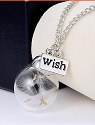 Women's Couple's Pendant Necklaces Chain Necklaces Circle Glass Circular Unique Design Dangling Style Natural Friendship Tassels Punk