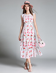 Feminino Evasê Vestido, Festa/Coquetel Férias Para Noite Vintage Moda de Rua Sofisticado Floral Decote Redondo Médio Sem Manga Rosa