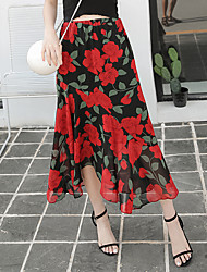 echten Schuss im Sommer 2016 neue Frauen&# 39; s roten Chiffon Blumenröcke war dünn großer Rock