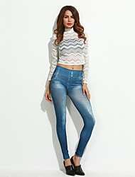 Women's Blue Jeans Imitated Leggings