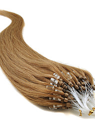 Unprocessed Brazilian Virgin Huamn Hair 16-24Inch Micro Loop Rings/Beads Hair Extensions Silky Natural Straight Hair 0.5g/s100s Per Pack