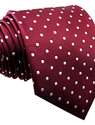 SXL15 Mens Necktie Tie Burgundy Dots 100% Silk Wedding Dress Business For Men